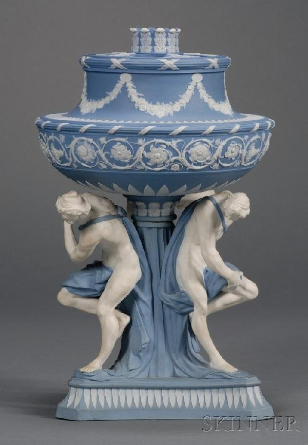 108: Wedgwood Solid Blue Jasper Michelangelo Vase and C