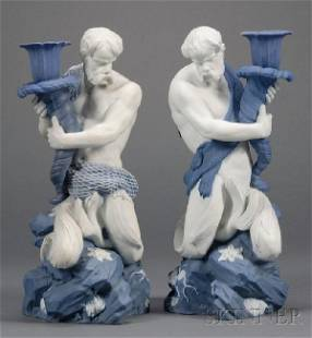 110: Pair of Wedgwood Blue and White Jasper Triton Cand