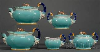 168: Wedgwood Majolica Five-piece Punch and Judy Patter