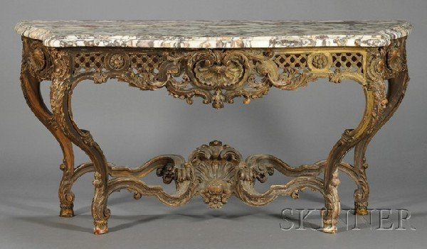 233: Louis XV-style Marble-top Giltwood Console Table,