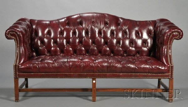 234: George III-style Tufted Brown Leather Camel-back S