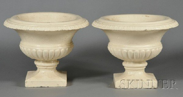 240: Pair of Cream-painted Cast Iron Garden Urns, each