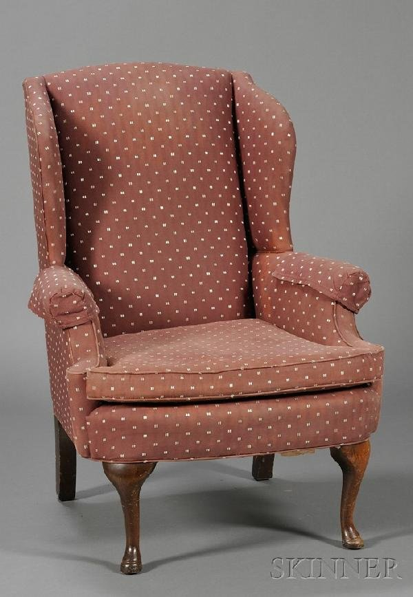 243: Queen Anne-style Upholstered Wing Chair, 20th cent