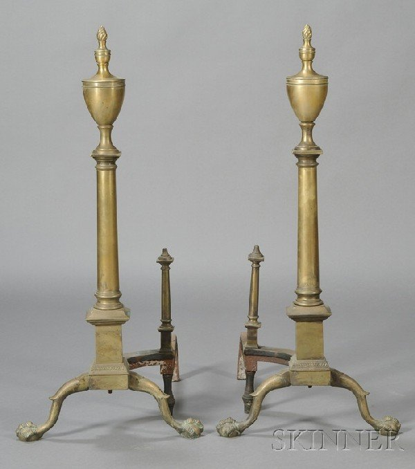 244: Pair of Chippendale-style Brass Andirons, each wit