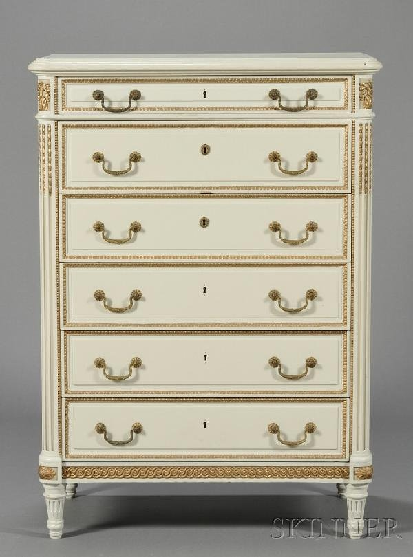 245: Suite of Louis XVI-style White and Gold-painted Be