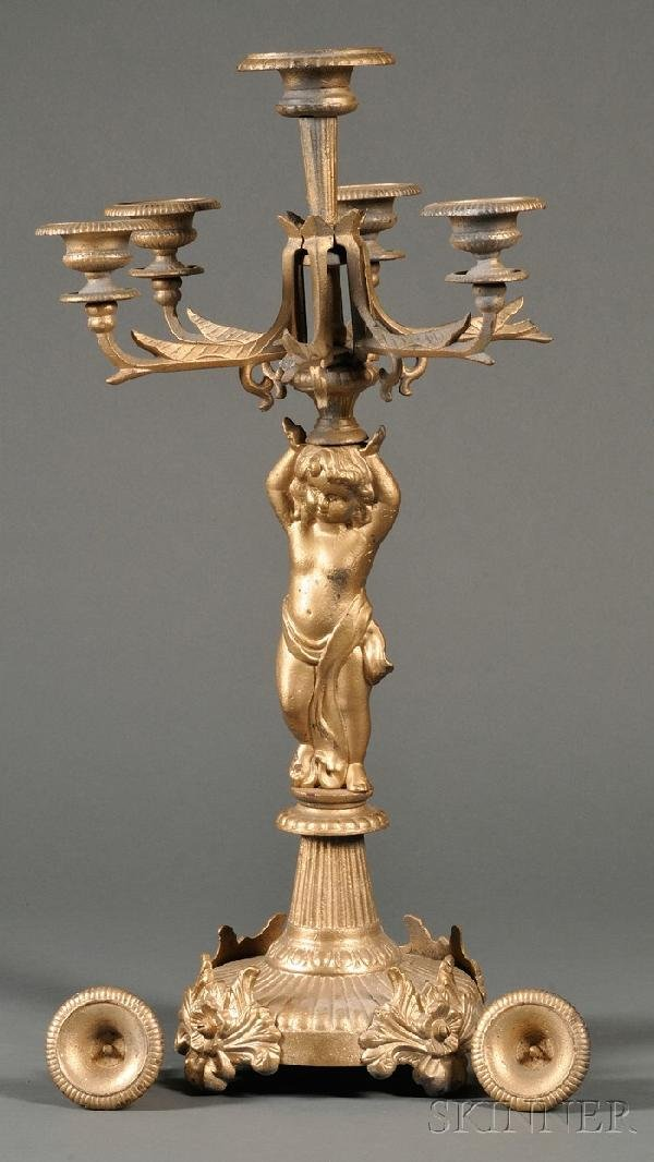 249: Gold-painted Cast Iron Figural Candelabra, 19th ce