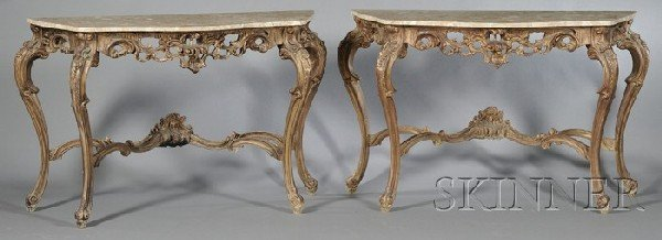 251: Pair of Victorian Painted and Parcel-gilt Rococo-s