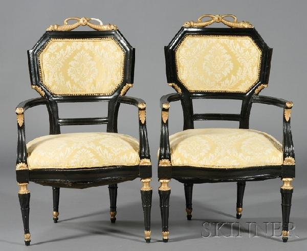 253: Set of Four Empire-style Composition and Ebonized