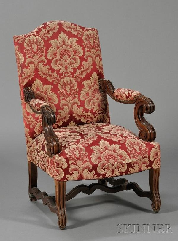 254: Baroque-style Mahogany Open Armchair, with scrolle
