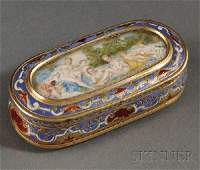 726 French Yellow Gold and Enamel Snuff Box late 19th
