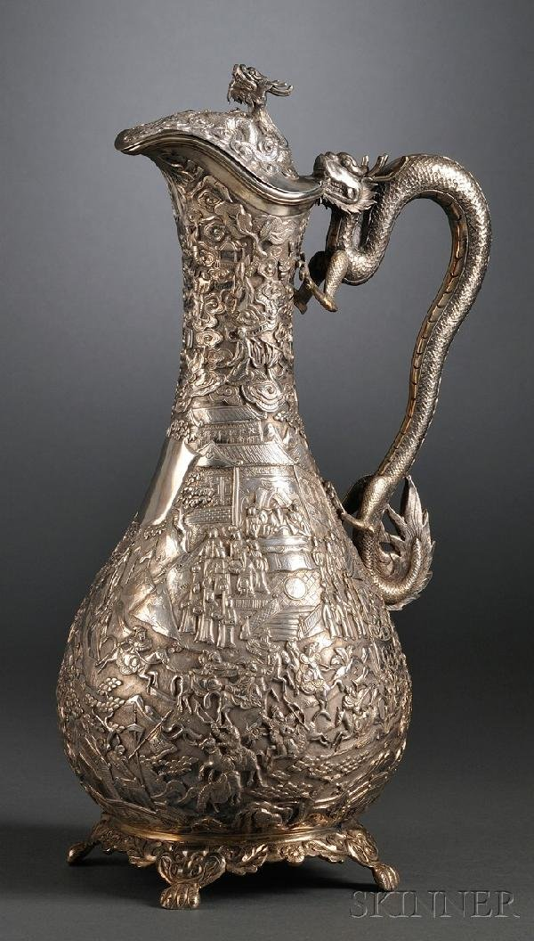 850: Chinese Export Silver Ewer, late 19th century, wit