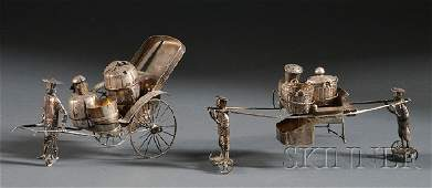 863: Two Chinese Export Figural Silver Condiment Sets,
