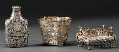 881: Three Chinese Export Silver Items, late 19th/early