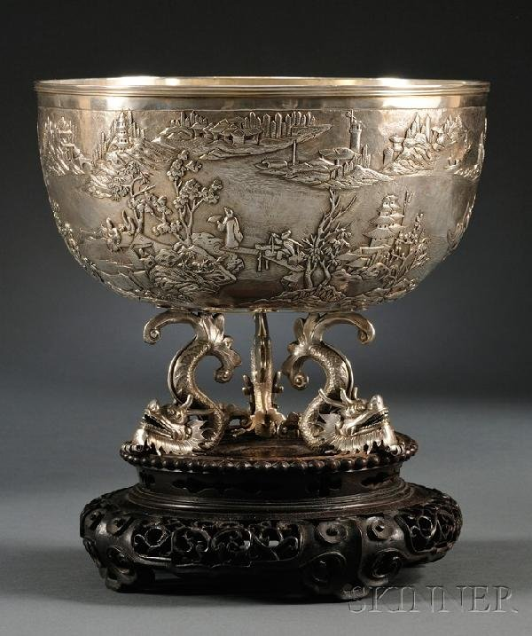 897: Chinese Export Silver Center Bowl, Shanghai, late