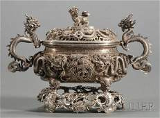 938 Chinese Export Silver Sauce Tureen and Stand late
