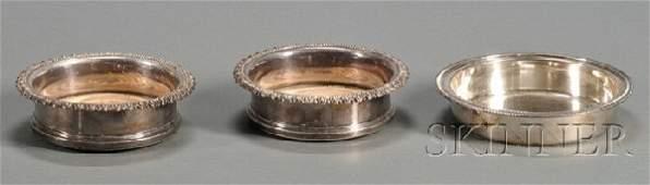 1024: Pair of Georgian Silverplate Wine Coasters, early