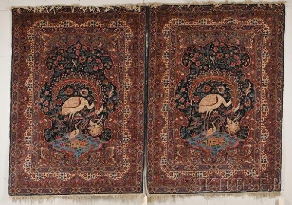 12: Pair of Kashan Pictorial Rugs, Central Persia, seco