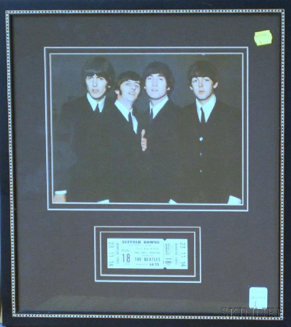 1: Framed August 18, 1966 Beatles at Suffolk Downs Conc