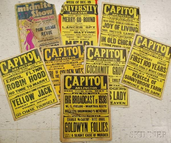 3: Twenty 1938 Movie Theater Window Cards, the Capitol