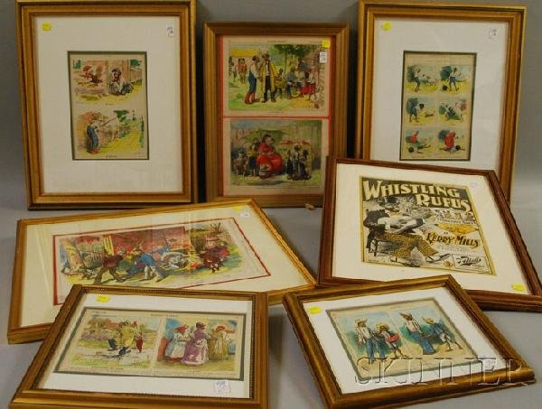 7B: Nine Framed 19th Century Newspaper and Magazine Bla