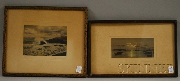 7E: Two Framed Hand-colored Marine Photographs, one dep
