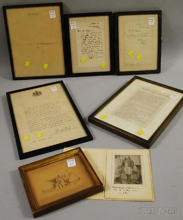 9: Lot of Framed Civil War Related and Other Paper Ephe
