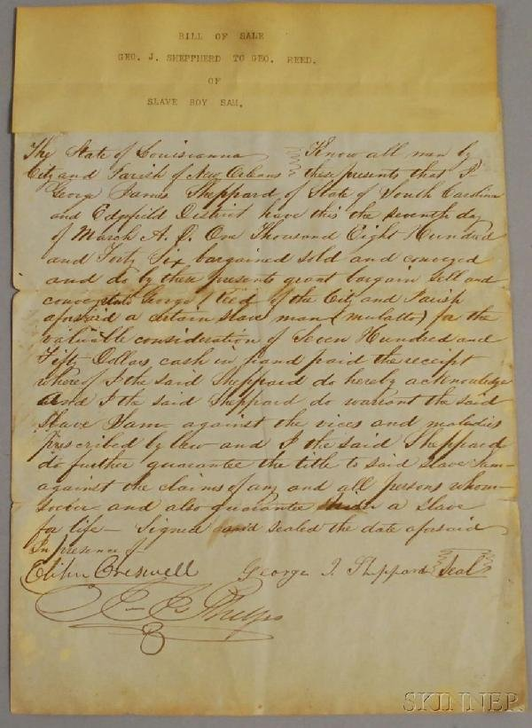16: 1846 Handwritten New Orleans, Louisiana Slave Sale