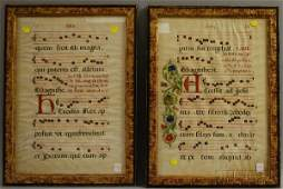 223: Two Framed Illuminated Vellum Sheet Music Pages, s