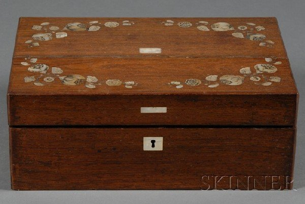 501: Mother-of-pearl Inlaid Rosewood Lap Desk, 19th cen