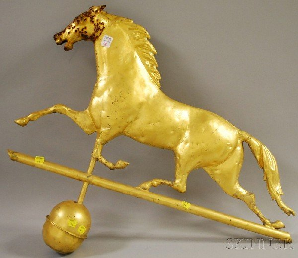 506: Gilt Molded Copper Full-bodied Running Horse Weath