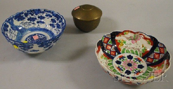 508: Two Asian Porcelain Bowls and an Engraved and Punc
