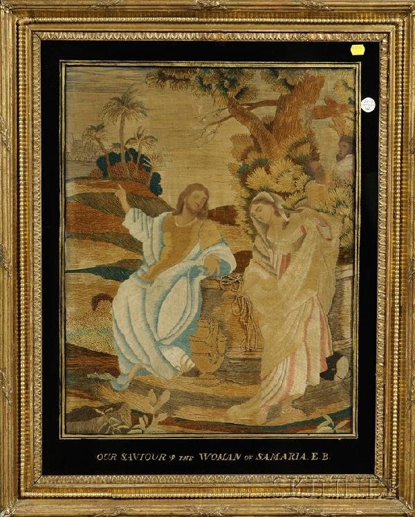 """510: Silk Picture of """"Christ with The Woman of Samaria,"""