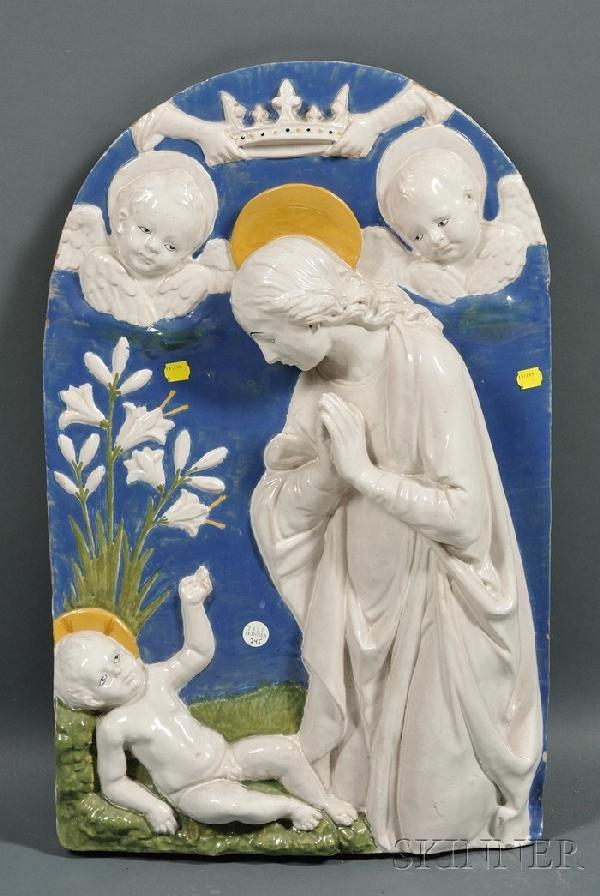523: Della Robbia-style Earthenware Plaque, Italy, late