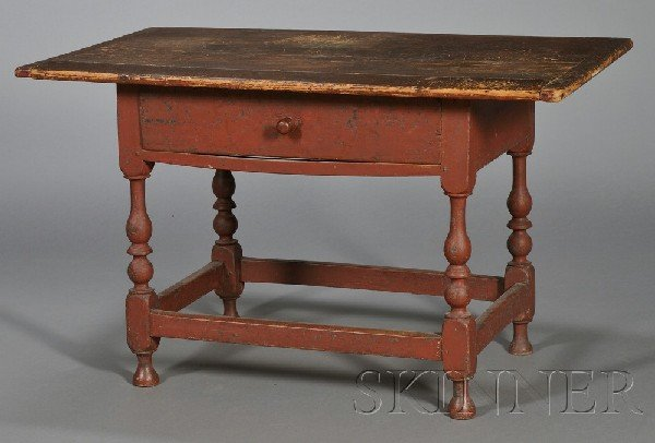 1: Painted Maple and Pine Tavern Table with Drawer, pro