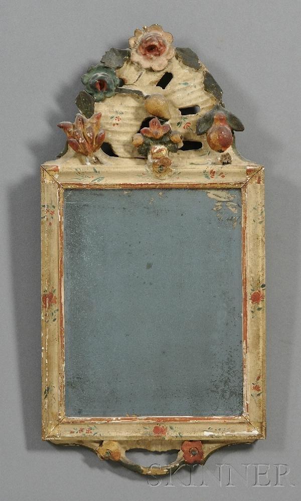 3: Gesso Polychrome and Gilt Carved Mirror, Northern Eu