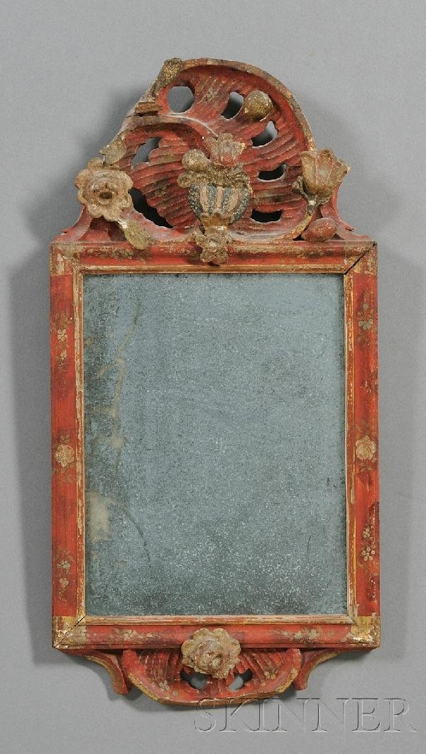 4: Gesso Vermilion-painted and Carved Mirror, Northern