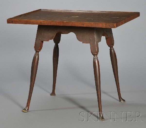 7: Queen Anne Maple Red-painted Tray-top Splay-leg Tea