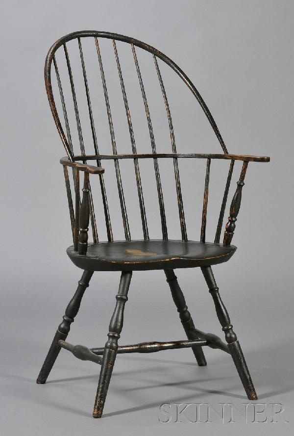 8: Green-painted Bowback Windsor Armchair, Massachusett