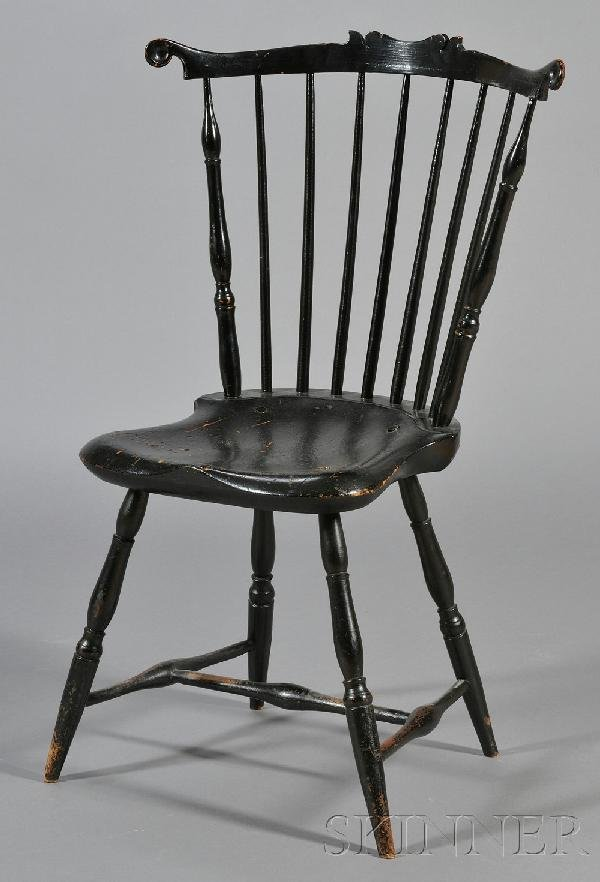 12: Black Painted Windsor Fanback Side Chair, Plymouth