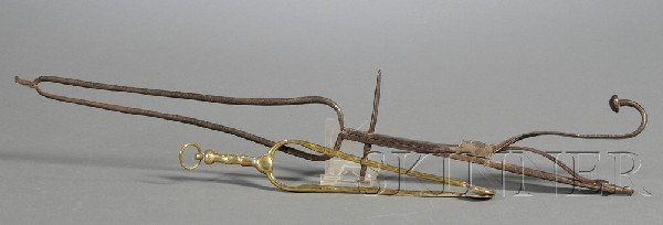 16: Wrought Iron and Brass Pipe Tongs, late 18th/early