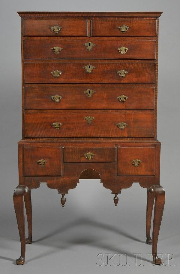 17: Queen Anne Tiger Maple Carved High Chest of Drawers
