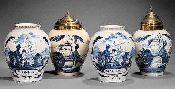19: Four Dutch Delft Tobacco Jars, 18th century, two de