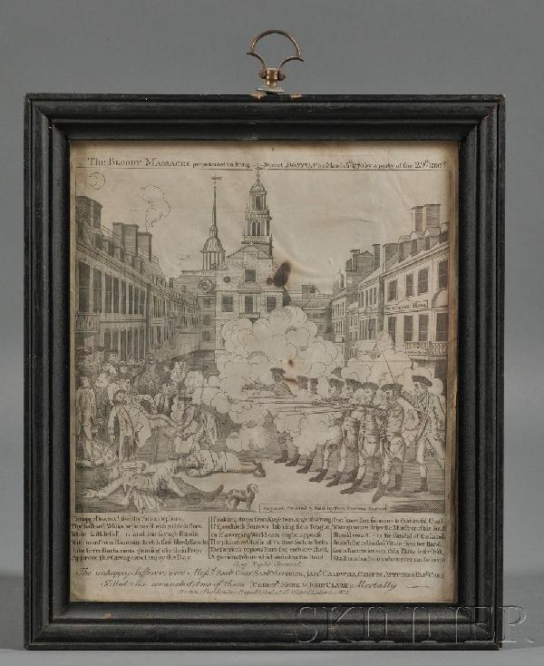 """22: Framed """"Fac-Simile"""" Engraving of Paul Revere's Bost"""