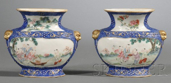 273: Pair of Chinese Export Porcelain Wall Pockets, mad