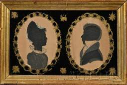 627 Double Silhouette Portraits of a Lady and a Gentle