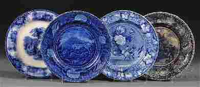 781: Four Blue Transfer-decorated Staffordshire Pottery