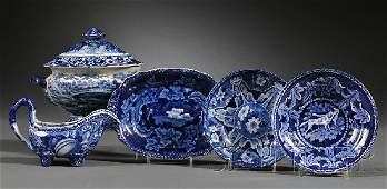 783: Five Blue Transfer-decorated Staffordshire Pottery