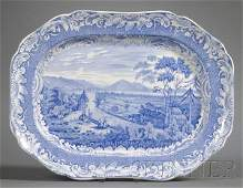 804: Blue Transfer-decorated Staffordshire Pottery Plat