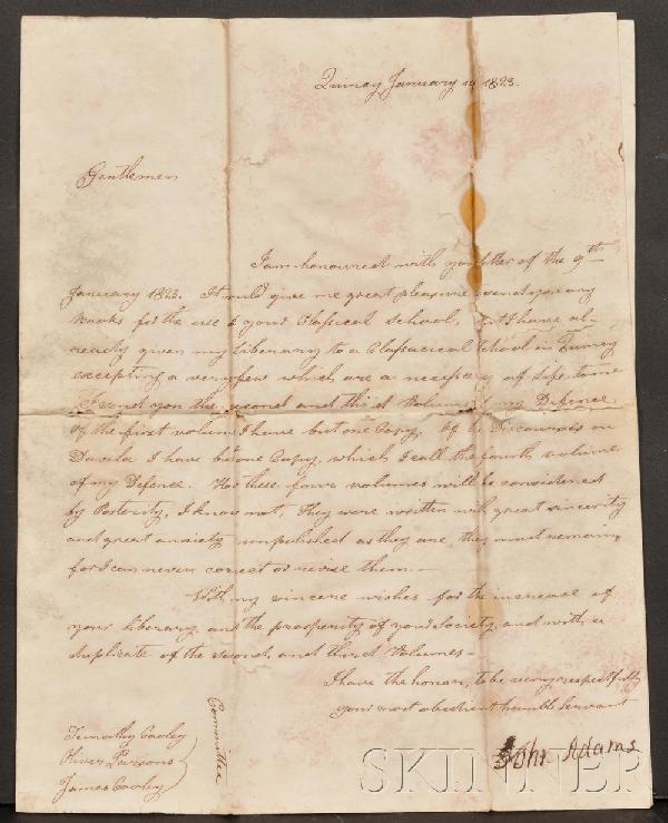 1: Adams, John (1735-1826), Signed letter, Quincy, Janu