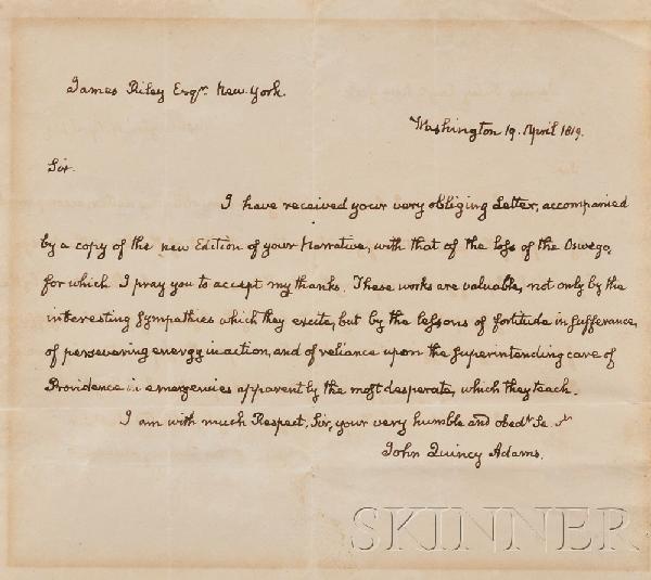 2: Adams, John Quincy (1767-1848), Autograph letter sig